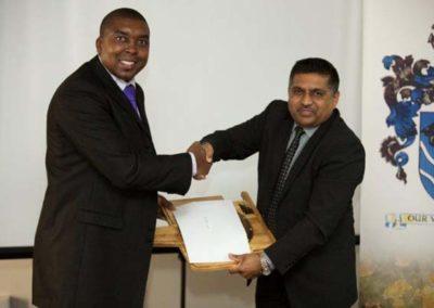 Ian Hlongwane Completion of PQE Exams with Highest Average Marks, with Sponsor Safmarine Maersk, Roy Ramdiyal MICS